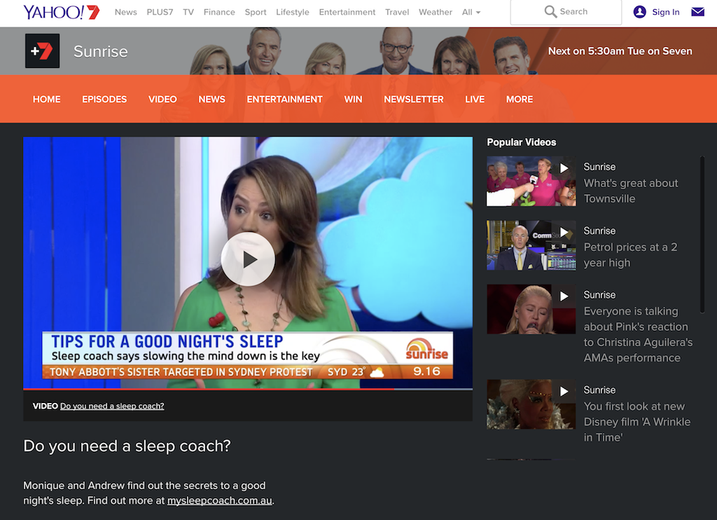 The sleep expert on Sunrise